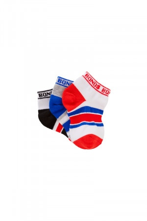 Bonds Baby Sportlet Socks 3 Pack Pack 19 R6463N 19P