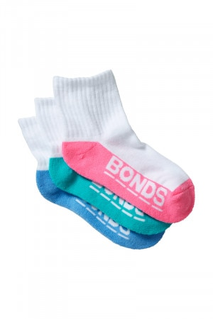 Bonds Kids Logo Quarter Crew 3 Pack Pack 11