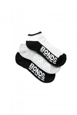 Bonds Kids Logo Low Cut Socks 3 Pack Pack 01 RYM83N 01K