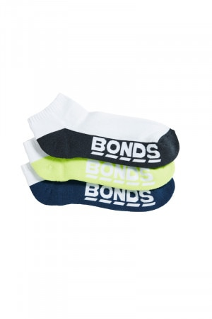 Bonds Mens Logo Low Cut Sport Sock 3pk Emerald Jelly & Lime & Steel Waters S8220N 30K