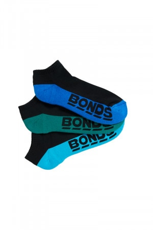 Bonds Mens Logo Low Cut Sport Sock 3pk Brooklyn Green & Blue Grotto & Casa Azul S8220N 32K