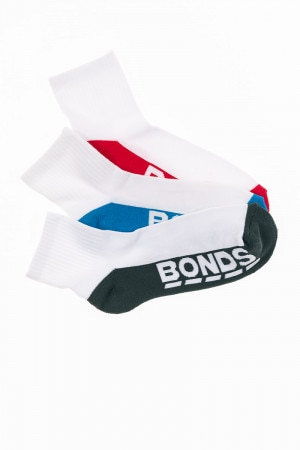 Mens Logo Quarter Crew Sport Socks 3 Pack