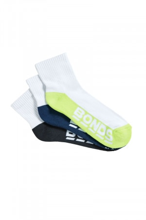 Bonds Mens Logo Quarter Crew Sport Socks 3 Pack Emerald Jelly & Lime & Steel Waters S8221N K25