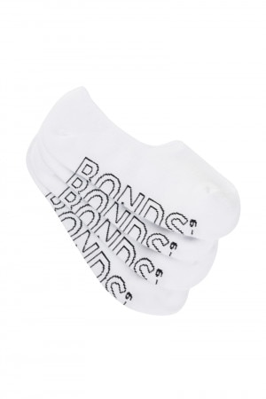 Bonds Mens Logo Light Sneaker Socks 4 Pack White