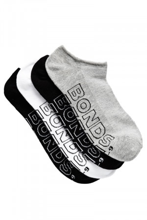 Bonds Mens Logo Light No Show Sport Socks 4 Pack Pack 01 SYTK4N 01K