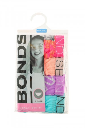 Bonds Girls Bikini 4 Pack Star Struck Leopard Pink