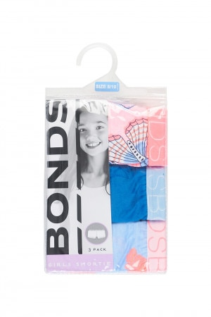 Bonds Girls Shortie 3 Pack Butterfly Kisses Strawberry Glaze