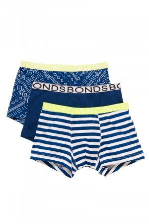 Bonds Boys Trunk 3pk Aztec Dot Stripe Print