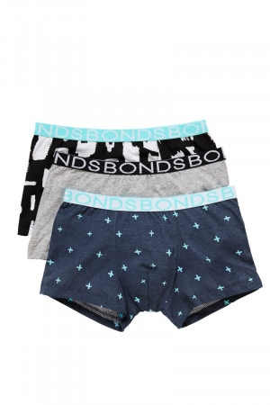 Bonds Boys Trunk 3pk X Marks The Spot