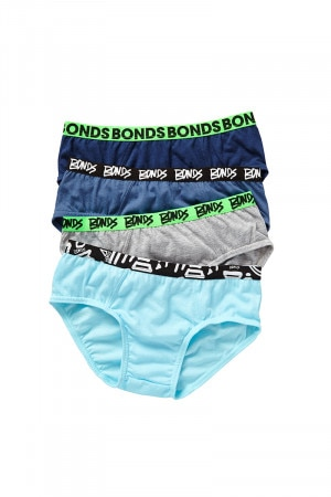 Bonds Boys Fun Pack Brief 4 Pack Pack 28 UY834A 28P