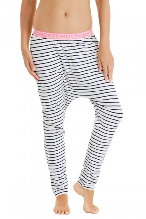 Bonds Harem Sleep Pants Almost Midnight Pinstripe White