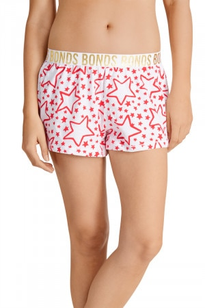 Bonds Sleep Shorts Comic Star Red & White