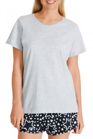 Bonds Short Sleeve Sleep Top Seeing Stars Gold & New Grey Marle