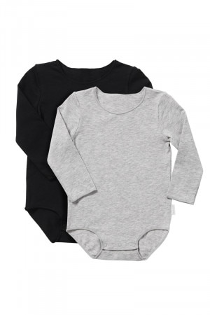 Bonds Wonderbodies Long Sleeve Bodysuit 2 Pack Grey & Black BXW7A PK1
