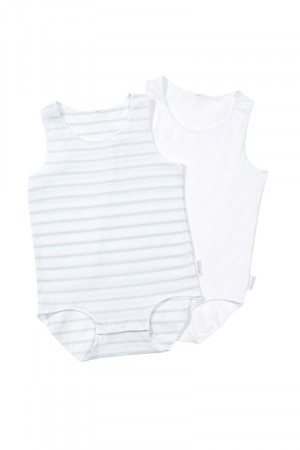 Bonds Wonderbodies Singletsuit 2pk Blue Stripe & White