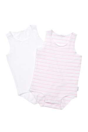 Bonds Wonderbodies Singletsuit 2pk Pink Stripe & White
