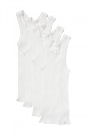 Bonds Baby Vest 4PK White BYLV WIT