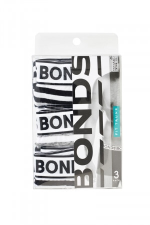 Bonds Fit Trunk 3pk Black White & Grey White MY7LW 01K