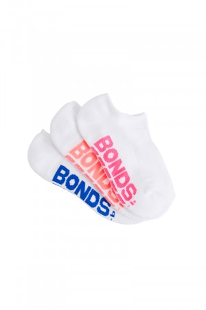 Bonds Kids Logo No Show Sport Socks 3 Pack White Based R5203N 15K