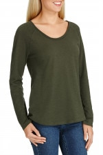 Bonds Raglan Long Sleeve Tee Khaki Canopy